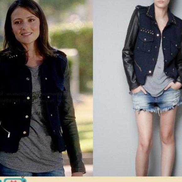 Zara studded boucle jacket with leather sleeves